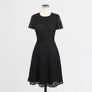 J. Crew | Black Floral Lace Fit and Flare Dress